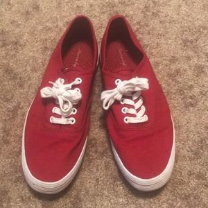 Red sneakers. Size 8.5